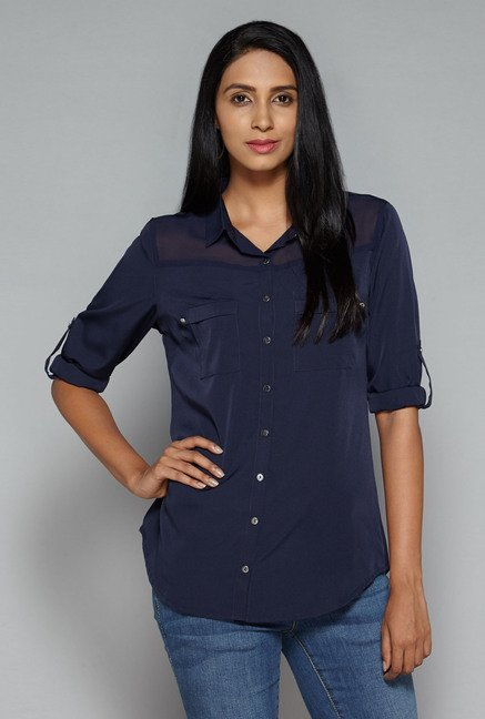 LOV by Westside Navy Marlyn Blouse