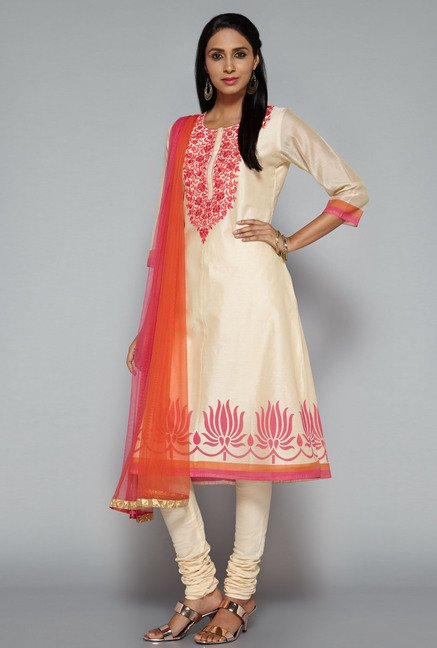 Vark by Westside Beige Embroidered Suit Set