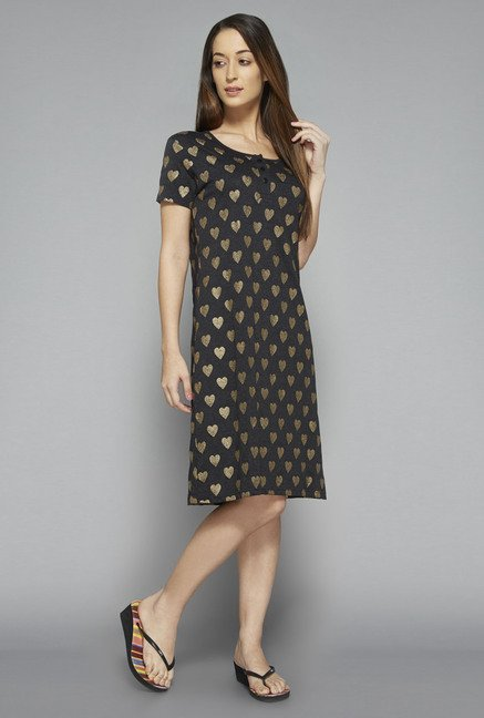 Intima by Westside Grey Heart Print Nightdress