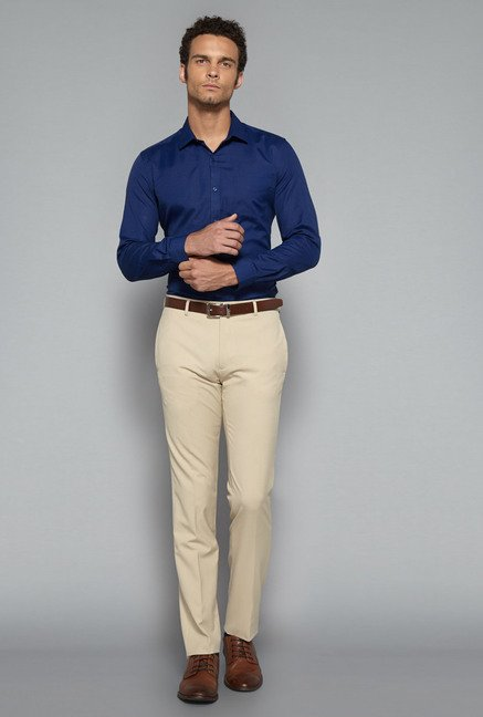 Weststreet by Westside Dark Blue Slim Fit Shirt