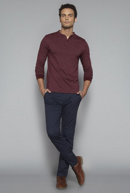 Ascot by Westside Maroon Slim Fit T Shirt