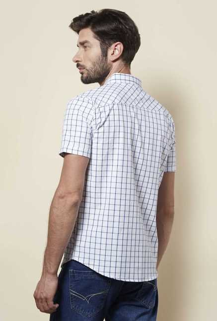 Zudio White Slim Fit Checks Shirt