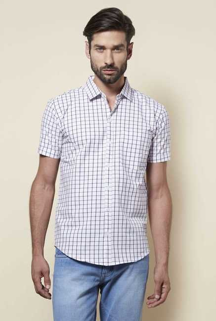 Zudio Purple Slim Fit Checks Shirt