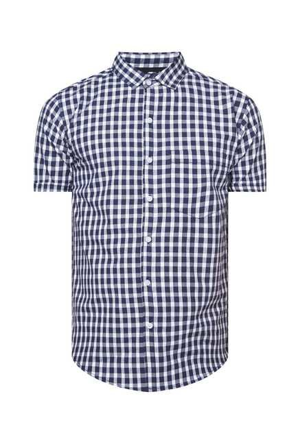 Zudio Navy Slim Fit Checks Shirt
