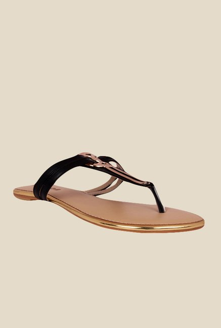 Notion Giorgia Black T-Strap Sandals
