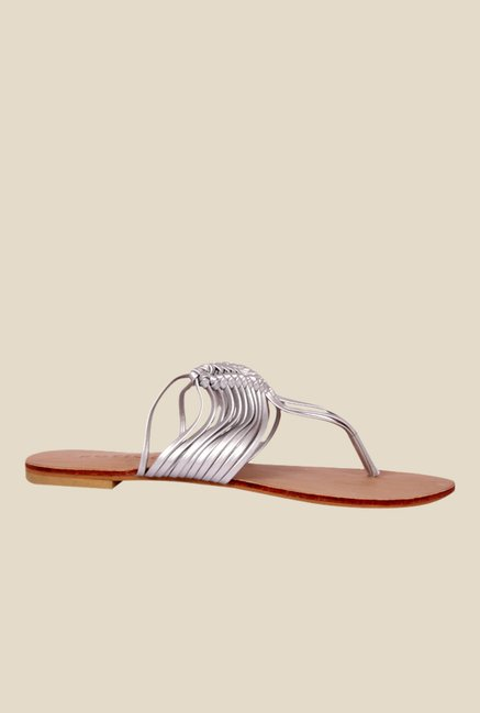 Notion Gloria Silver T-Strap Sandals