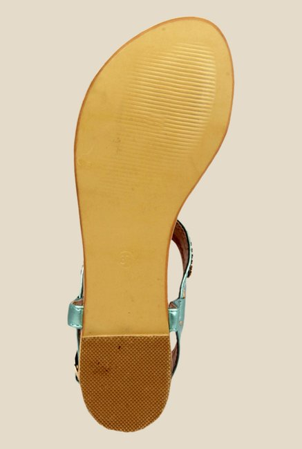 Notion Giovanna Blue & Golden Back Strap Sandals