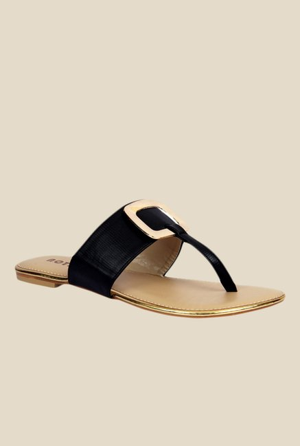 Notion Giolla Black T-Strap Sandals