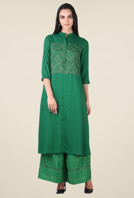 9rasa Green Printed Kurta Set
