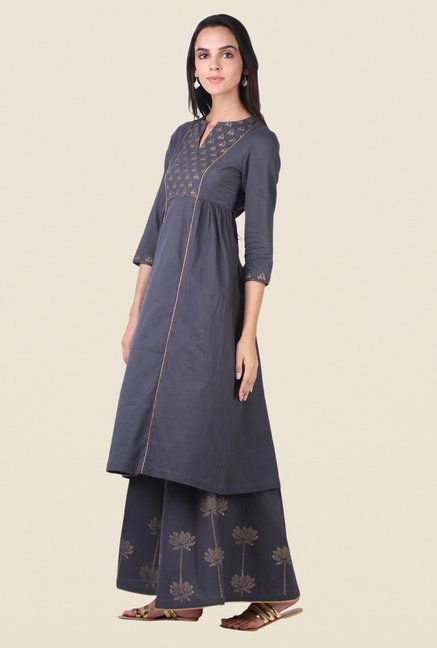 9rasa Dark Grey Block Print Kurta Sharara Set