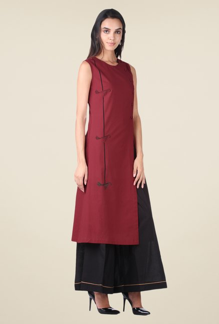 9rasa Maroon & Black Solid Kurta Sharara Set