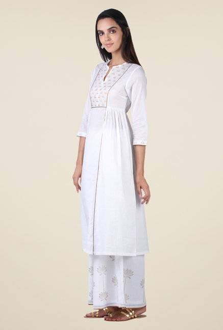 9rasa Off White Block Print Kurta Sharara Set
