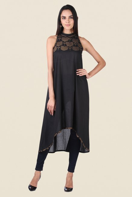 9rasa Black Block Print Yoke Kurta