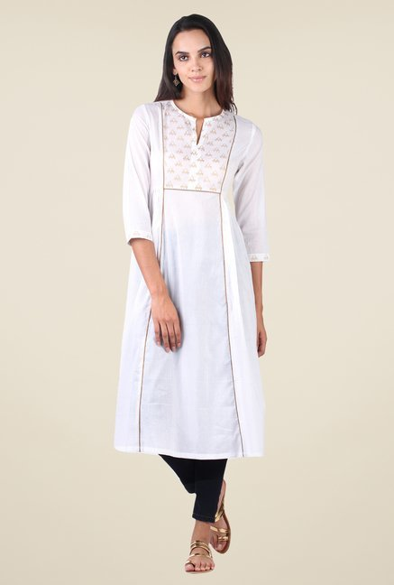 9rasa Off White Block Print Side Gathered Kurta