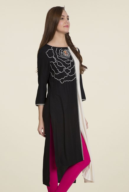 Desi Belle Black & White Embroidered Kurti