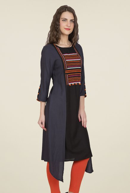 Desi Belle Black & Grey Embroidered Kurti