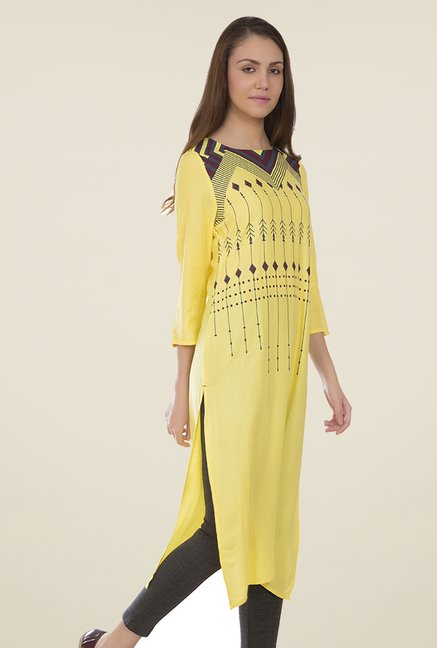 Desi Belle Yellow Printed Kurti
