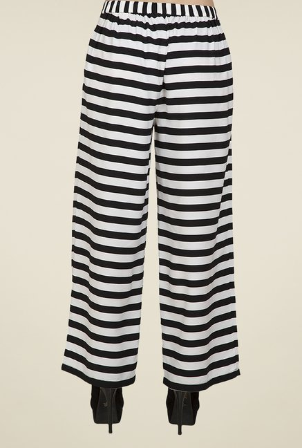 Desi Belle Black & White Striped Palazzos