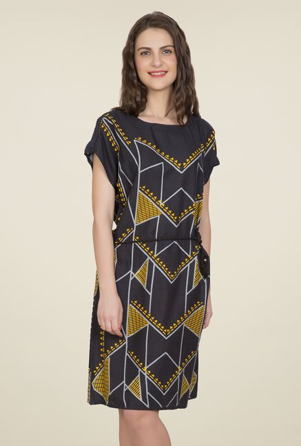 Desi Belle Black Printed Dress