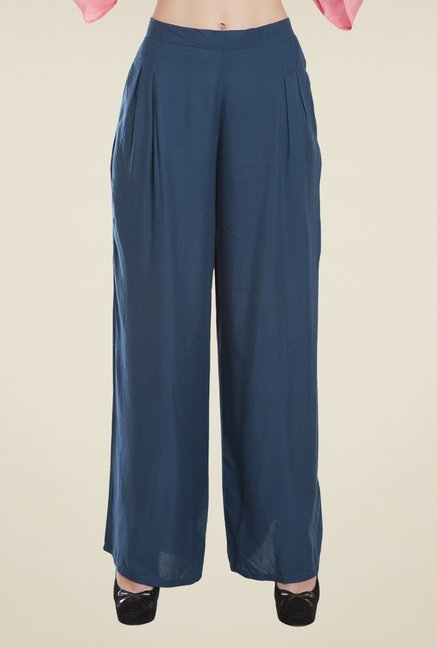 Desi Belle Blue Solid Relaxed Fit Palazzos