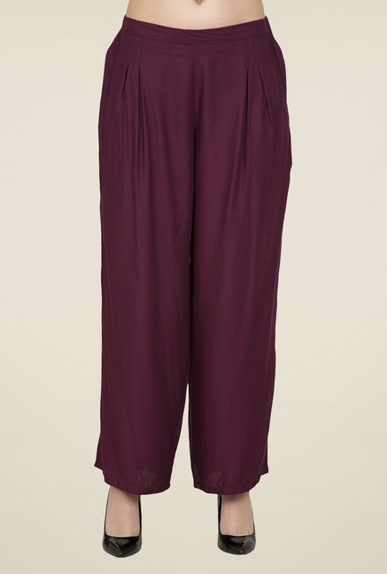 Desi Belle Purple Solid Palazzos