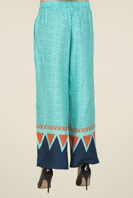 Desi Belle Turquoise Printed Palazzos