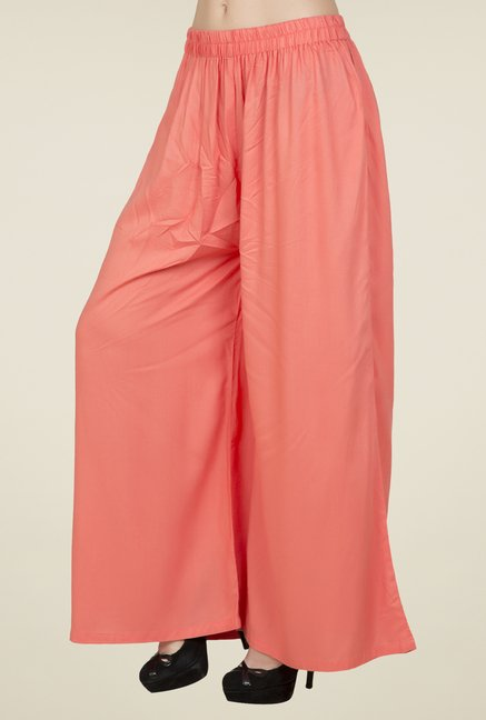 Desi Belle Peach Solid Palazzos