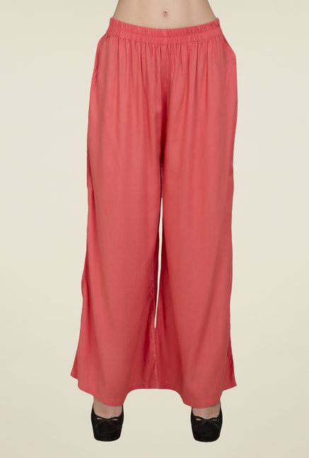 Desi Belle Coral Solid Palazzos