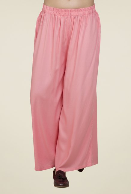 Desi Belle Pink Solid Relaxed Fit Palazzos