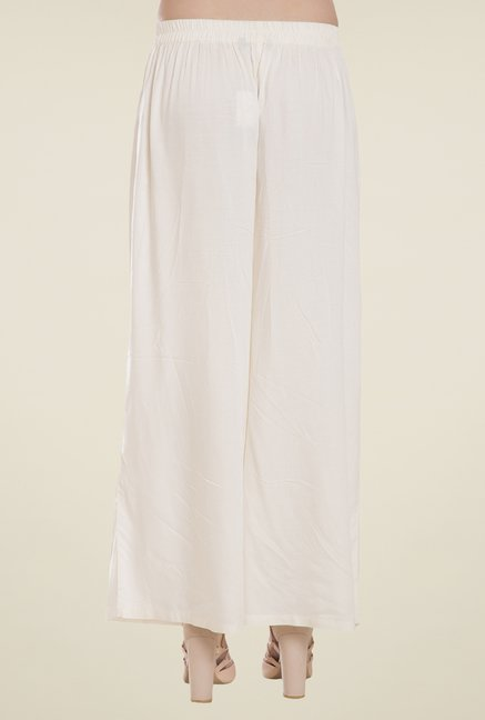 Desi Belle Off White Solid Palazzos