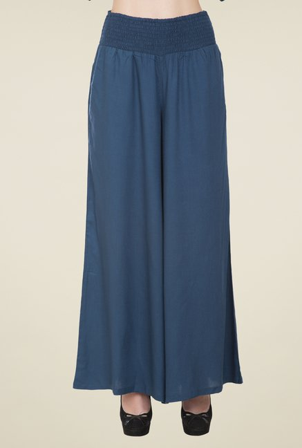 Desi Belle Blue Solid Palazzos