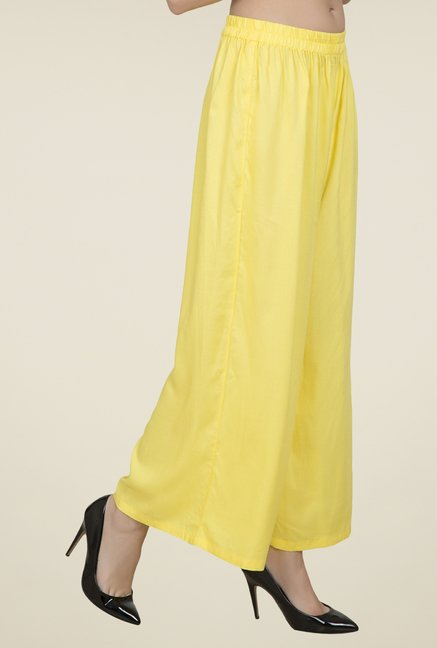 Desi Belle Yellow Solid Palazzos