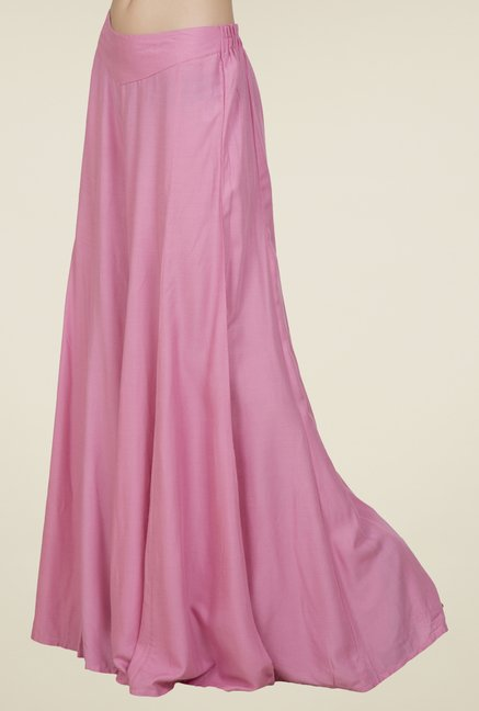 Desi Belle Pink Solid Palazzos