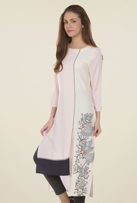 Desi Belle Light Pink Printed Kurti