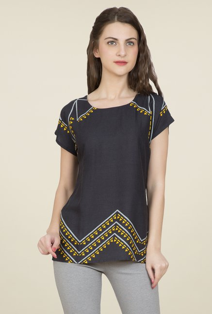 Desi Belle Charcoal Printed Top