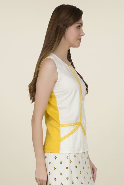Desi Belle Off White Embroidered Top