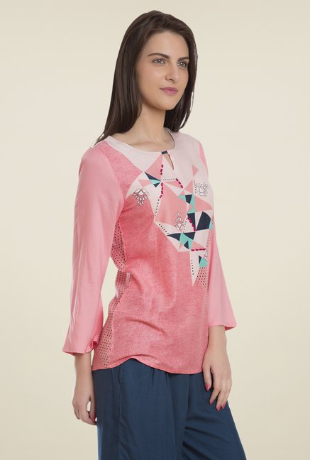 Desi Belle Pink Printed Top