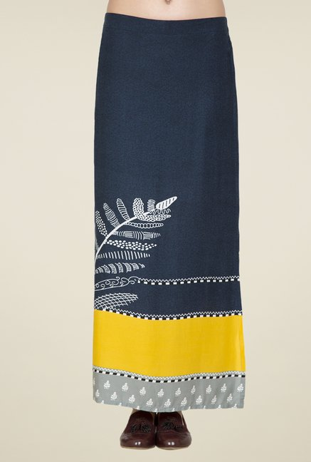 Desi Belle Navy Printed Skirt