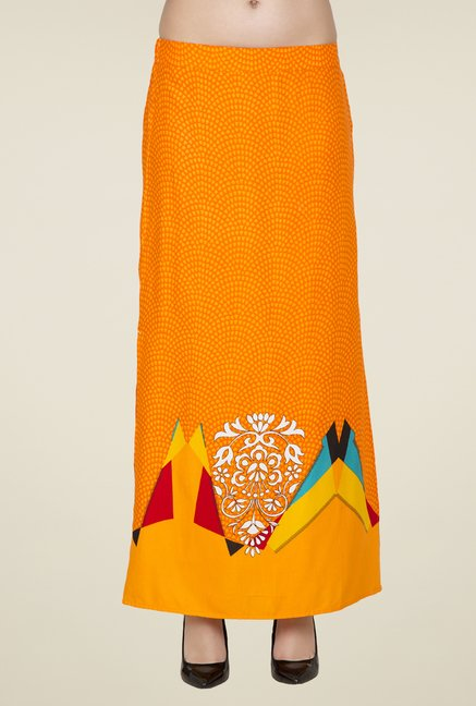 Desi Belle Orange Printed Skirt