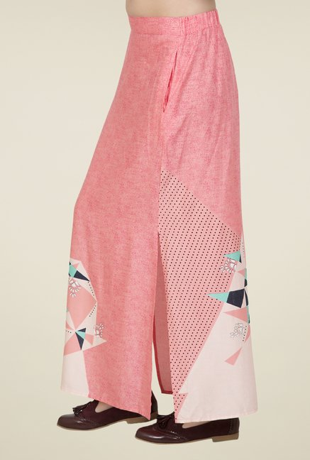 Desi Belle Pink Printed Skirt