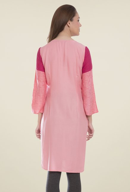 Desi Belle Pink Embroidered Kurti