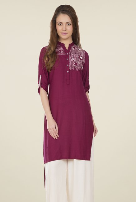 Desi Belle Purple Embroidered Kurti