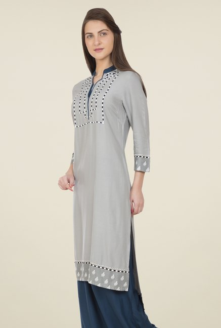Desi Belle Grey Embroidered Kurti