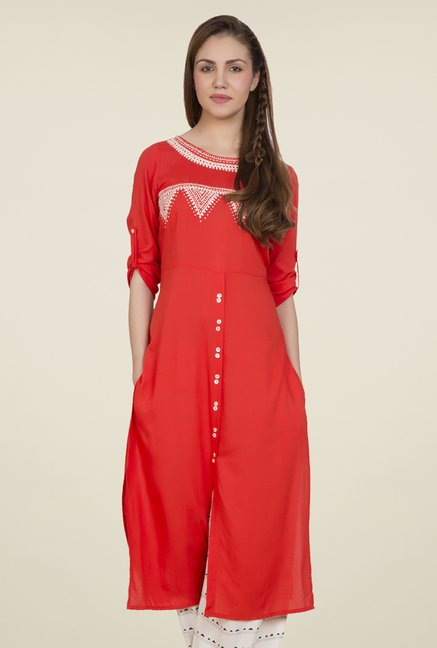 Desi Belle Orange Embroidered Kurti