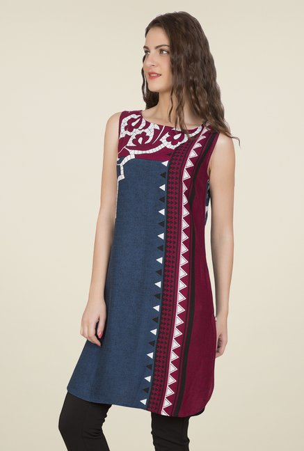 Desi Belle Blue & Purple Printed Kurti
