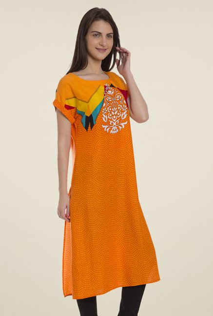 Desi Belle Orange Printed Kurti