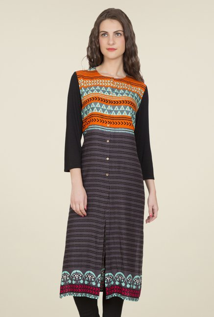 Desi Belle Dark Grey Printed Kurti