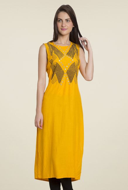 Desi Belle Yellow Embroidered Kurti