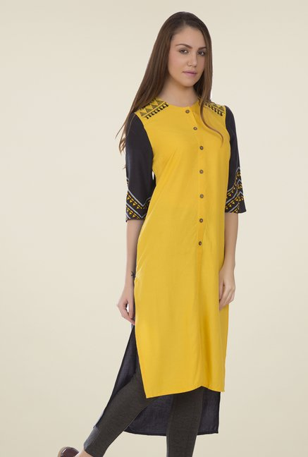 Desi Belle Yellow Solid Kurti
