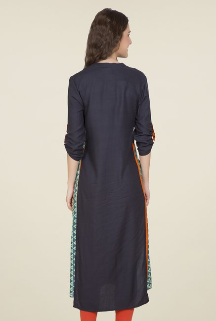 Desi Belle Navy Embroidered Kurti